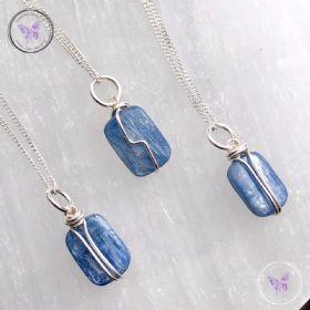 Blue Kyanite Silver Pendant